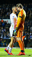 Leeds United's Kemar Roofe squares up to Norwich City's Tim Krul<br /> <br /> Photographer Alex Dodd/CameraSport<br /> <br /> The EFL Sky Bet Championship - Leeds United v Norwich City - Saturday 2nd February 2019 - Elland Road - Leeds<br /> <br /> World Copyright © 2019 CameraSport. All rights reserved. 43 Linden Ave. Countesthorpe. Leicester. England. LE8 5PG - Tel: +44 (0) 116 277 4147 - admin@camerasport.com - www.camerasport.com