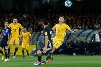 October 11, 2016: APOSTOLOS GIANNOU (17) of Australia watches the ball during a 3rd round Group B World Cup 2018 qualification match between Australia and Japan at the Docklands Stadium in Melbourne, Australia. Photo Sydney Low Please visit zumapress.com for editorial licensing. *This image is NOT FOR SALE via this web site.