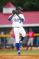 Burlington Royals relief pitcher Yunior Marte (41) in action against the Danville Braves at Burlington Athletic Park on July 5, 2014 in Burlington, North Carolina.  The Royals defeated the Braves 5-4.  (Brian Westerholt/Four Seam Images)