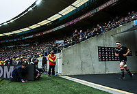 Sam Cane leads the All Blacks out for the Bledisloe Cup rugby union match between the New Zealand All Blacks and Australia Wallabies at Sky Stadium in Wellington, New Zealand on Sunday, 11 October 2020. Photo: Dave Lintott / lintottphoto.co.nz
