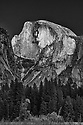 September 2014 / Black and White / Yosemite National Park landscapes / Half Dome as seen from Lower Pines area / Photo  by Bob Laramie