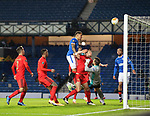 26.11 2020 Rangers v Benfica: James Tavernier heads against the bar with the rebound falling to Scott Arfield to score