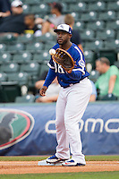 Oklahoma City Dodgers first baseman O'Koyea Dickson (23) catches a ball during the Pacific Coast League baseball game against the Nashville Sounds on June 12, 2015 at Chickasaw Bricktown Ballpark in Oklahoma City, Oklahoma. The Dodgers defeated the Sounds 11-7. (Andrew Woolley/Four Seam Images)