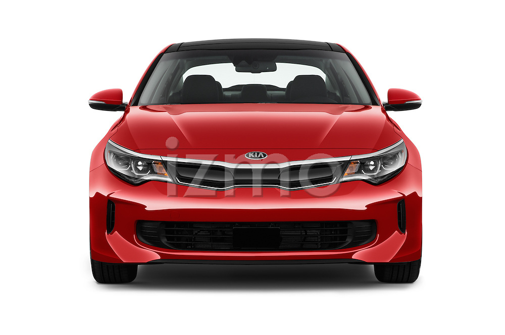 Car photography straight front view of a 2018 KIA Optima EX-Hybrid 4 Door Sedan Front View