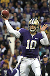 Jake Locker (#10), University of Washington quarterback, fires a pass during the Huskies Pac-10 conference football game against arch-rival Washington State at Husky Stadium in Seattle, Washington, on November 28, 2009.  Washington shut out the Cougars in their annual Apple Cup battle, 30-0.