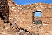 Pueblo Del Arroyo Rock Wall and Window at Chaco Culture National Historic Park.