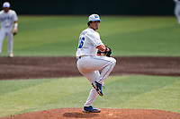 Duke Blue Devils pitcher Aaron Beasley (16) delivers a pitch to the plate against the Liberty Flames in NCAA Regional play on Robert M. Lindsay Field at Lindsey Nelson Stadium on June 4, 2021, in Knoxville, Tennessee. (Danny Parker/Four Seam Images)