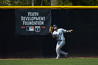 Catawba Indians center fielder Bryce Butler (4) catches a fly ball during game two of a double-header against the Queens Royals at Tuckaseegee Dream Fields on March 26, 2021 in Kannapolis, North Carolina. (Brian Westerholt/Four Seam Images)