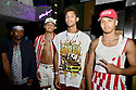 MIAMI, FL - JULY 09: Recording artist Jonny Dilakian and AAron Dilaikian of JNA, Jeremiah Campbell (L) and Jovan Clark (2nd fromR) attend Miami Swim week JNA after party single release event at Racket Wynwood on July 9, 2021 in Miami, Florida.  ( Photo by Johnny Louis / jlnphotography.com )