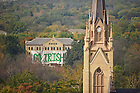 "Oct. 22, 2011; ""Go Irish"" sign on Carroll Hall..Photo by Matt Cashore/University of Notre Dame"