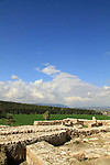 The northern stables at Tel Megiddo, Mount Carmel is in the background