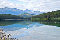 """""""PATRICIAN PATRICIA""""<br /> <br /> On this serene morning Patricia Lake was looking particularly patrician. The Canadian Rockies, clouds and forest reflected in the cool, clear waters of Patricia Lake in Jasper National Park, Alberta, Canada"""
