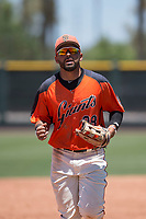 San Francisco Giants Orange outfielder Robinson Medrano (28) jogs off the field between innings of an Extended Spring Training game against the Seattle Mariners at the San Francisco Giants Training Complex on May 28, 2018 in Scottsdale, Arizona. (Zachary Lucy/Four Seam Images)