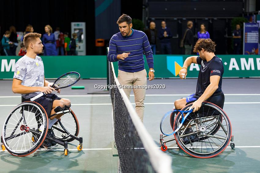 Rotterdam, The Netherlands, 12 Februari 2020, ABNAMRO World Tennis Tournament, Ahoy. Wheelchair: Ruben Spaargaren (NED) and Daniel Caverzaschi (ESP). <br /> Photo: www.tennisimages.com