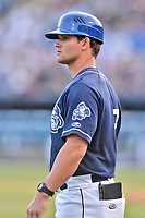 Asheville Tourists manager Warren Schaeffer (13) during a game against the Greenville Drive at McCormick Field on April 15, 2017 in Asheville, North Carolina. The Tourists defeated the Drive 5-4. (Tony Farlow/Four Seam Images)