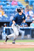 Columbia Fireflies left fielder Matt Winaker (5) swings at a pitch during a game against the Asheville Tourists at McCormick Field on August 3, 2018 in Asheville, North Carolina. The Fireflies defeated the Tourists 6-3. (Tony Farlow/Four Seam Images)