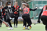 Frankfurt am Main, Germany, March 14: During the Damen 1. Bundesliga West Lacrosse match between SC 1880 Frankfurt and Duesseldorfer Hirschkuehe on March 14, 2015 at the SC 1880 Frankfurt in Frankfurt am Main, Germany. Final score 20-13 (13-8). (Photo by Dirk Markgraf / www.265-images.com) *** Local caption *** Jacquline Mancher #11 of Duesseldorfer Hirschkuehe, Hanna Kollas #16 of SC 1880 Frankfurt