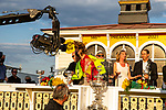 May 15, 2021 : Security detains a protestor on Preakness Stakes Day at Pimlico Race Track in Baltimore, Maryland on May 15, 2021. Alex Evers/Eclipse Sportswire/CSM