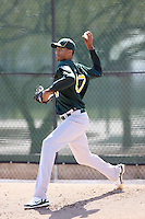 Michael Ynoa. Oakland Athletics minor league pitcher, throws a live batting practice session at the A's complex at Papago Park, Phoenix, AZ - 03/12/2010. It was Ynoa's first live BP session in Arizona after sitting out the entire 2009 season due to injury. Ynoa signed for a bonus of $4.25 million in July 2008 shortly after turning 16..Photo by:  Bill Mitchell/Four Seam Images.