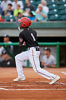 Chattanooga Lookouts second baseman Nick Gordon (1) follows through on a swing during a game against the Jackson Generals on May 9, 2018 at AT&T Field in Chattanooga, Tennessee.  Chattanooga defeated Jackson 4-2.  (Mike Janes/Four Seam Images)