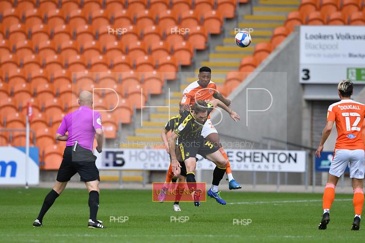 09/05/2021 Sky Bet League 1 Blackpool v Bristol Rovers  <br /> <br /> Marvin Ekpiteta duels with Pablo Martinez