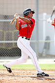 July 14, 2009:  Center Fielder Reymond Fuentes (3) of the GCL Red Sox at bat during a game at the Boston Red Sox Training Complex in Fort Myers, FL.  Fuentes was taken by the Red Sox in the first (1st) round of the 2009 MLB draft.  The GCL Red Sox are the Gulf Coast Rookie League affiliate of the Boston Red Sox.  Photo By Mike Janes/Four Seam Images