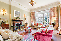 BNPS.co.uk (01202) 558833. <br /> Pic: Strutt&Parker/BNPS<br /> <br /> Pictured: Drawing room. <br /> <br /> A grand Georgian manor where writer Evelyn Waugh lived and died is on the market for £5.5m.<br /> <br /> The author of Vile Bodies, Brideshead Revisited and Sword of Honour bought Combe Florey House in Somerset in 1956 and his family lived there until 2008 when they sold it to the current owners.<br /> <br /> In Waugh's day the house was often filled with his glamorous and clever guests like poet John Betjeman, actors Peter Cook and Alec Guinness and writers Salman Rushdie and Muriel Spark.<br /> <br /> The 12-bedroom house has had a makeover since Waugh's day and quirky style and is now a light-filled spacious family home with a party barn, swimming pool and 34 acres.
