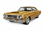 Golden 1967 Plymouth GTX Hemi 426 rare retro vehicle performance muscle car by Chrysler isolated on white background with clipping path Image © MaximImages, License at https://www.maximimages.com