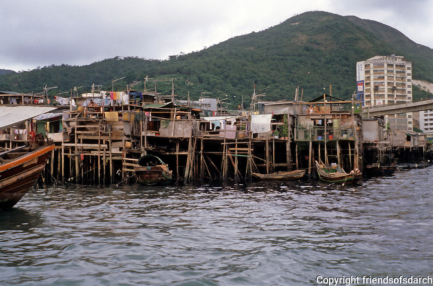 Hong Kong: Aberdeen--moorings and docks. Photo '82.