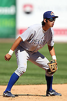 Peoria Chiefs shortstop Hak-Ju Lee (7) during a game vs. the Kane County Cougars at Elfstrom Stadium in Geneva, Illinois August 15, 2010.   Peoria defeated Kane County 8-4.  Photo By Mike Janes/Four Seam Images