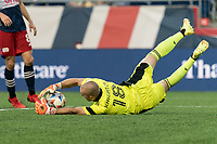 FOXBOROUGH, MA - JULY 25: Brad Knighton #18 of New England Revolution makes a save during a game between CF Montreal and New England Revolution at Gillette Stadium on July 25, 2021 in Foxborough, Massachusetts.