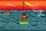 Illustrative image of people oaring in sea represents health insurance