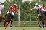 WELLINGTON, FL - MARCH 05: Facundo Pieres of Orchard Hill (Red) and Diego Cavanagh battle for the ball, as Valiente defeats Orchard Hill 14-11, in the 26 goal CV Whitney Cup Final, at the International Polo Club, Palm Beach on February 26, 2017 in Wellington, Florida. (Photo by Liz Lamont/Eclipse Sportswire/Getty Images)