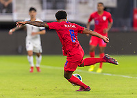 WASHINGTON, DC - OCTOBER 11: Weston McKennie #8 of the United States crosses the ball during a game between Cuba and USMNT at Audi Field on October 11, 2019 in Washington, DC.