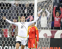 Alex Morgan #21 of the USA WNT after scoring her first ever goal for the national team during an international friendly match against the PRC WNT at PPL Park, on October 6 2010 in Chester, PA. The game ended in a 1-1 tie.