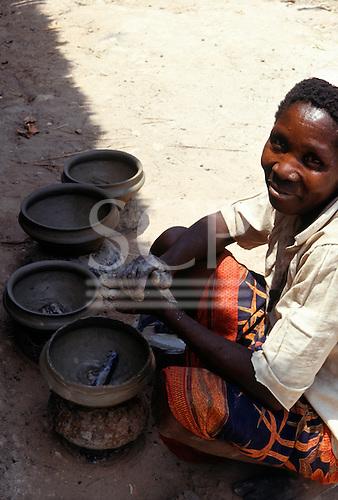 Kirambo, Tanzania. Woman making pots for domestic use.