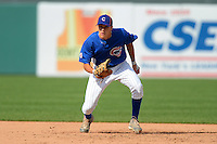 First baseman Evan White (40) of Gahanna Lincoln High School in Gahanna, Ohio playing for the Chicago Cubs scout team during the East Coast Pro Showcase on August 1, 2013 at NBT Bank Stadium in Syracuse, New York.  (Mike Janes/Four Seam Images)
