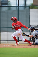 GCL Phillies West Juan Carlos Smith (19) bats during a Gulf Coast League game against the GCL Tigers West on July 27, 2019 at the Carpenter Complex in Clearwater, Florida.  (Mike Janes/Four Seam Images)
