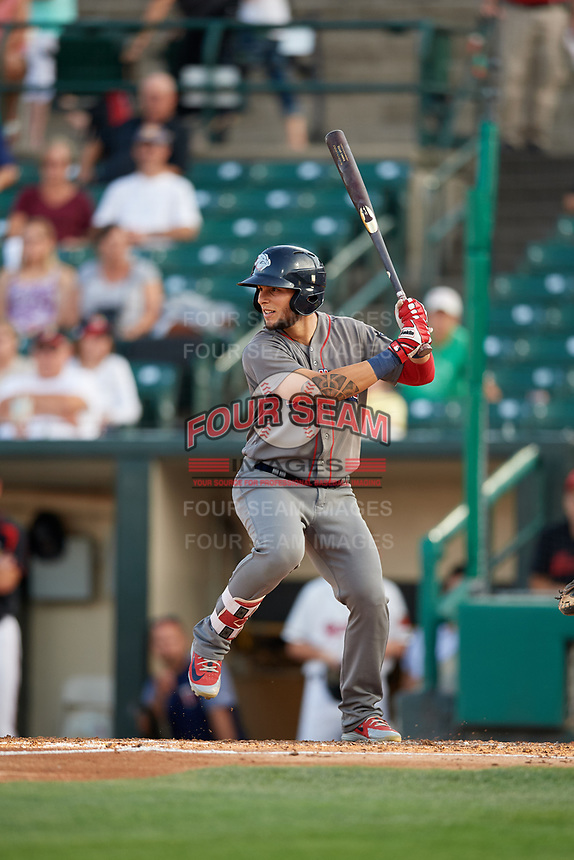 Lehigh Valley IronPigs left fielder Danny Ortiz (6) at bat during a game against the Rochester Red Wings on September 1, 2018 at Frontier Field in Rochester, New York.  Lehigh Valley defeated Rochester 2-1.  (Mike Janes/Four Seam Images)