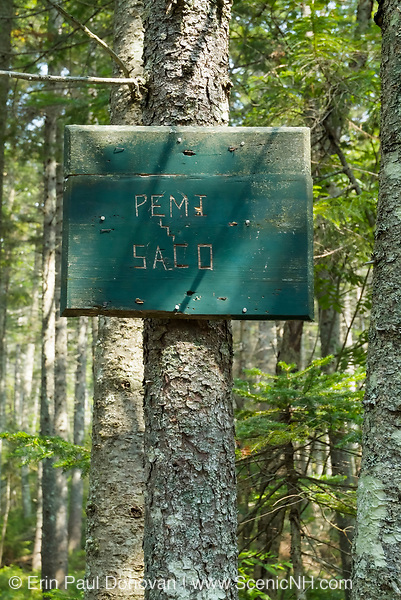Pemi / Saco district sign on Hancock Notch Trail in the White Mountains, New Hampshire during the summer months.