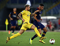 Football, Serie A: AS Roma - Hellas Verona Fc, Olympic stadium, Rome, July 15, 2020. <br /> Roma's Bruno Peres (r) in action with Verona's Mattia Zaccagni (l) during the Italian Serie A football match between Roma and Hellas Verona at Rome's Olympic stadium, on July 15, 2020. <br /> UPDATE IMAGES PRESS/Isabella Bonotto