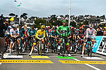 White Jersey Tadej Pogacar (SLO) UAE Team Emirates, Yellow Jersey Julian Alaphilippe (FRA) Deceuninck-Quick Step, Green Jersey MAichael Matthews (AUS) Team BikeExchange and Polka Dot Jersey Ide Schelling (NED) Bora-Hansgrohe line up for the start of Stage 2 of the 2021 Tour de France, running 183.5km from Perros-Guirec to Mur-de-Bretagne Guerledan, France. 27th June 2021.  <br /> Picture: A.S.O./Charly Lopez   Cyclefile<br /> <br /> All photos usage must carry mandatory copyright credit (© Cyclefile   A.S.O./Charly Lopez)