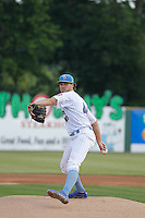 """Myrtle Beach Pelicans pitcher Tyler Skulina (44) on the mound during game one of a doubleheader against the Carolina Mudcats at Ticketreturn.com Field at Pelicans Ballpark on June 6, 2015 in Myrtle Beach, South Carolina. During the game the Pelicans wore special """"Let's Play Two"""" uniforms as a tribute to the late Chicago Cubs Hall of Famer Ernie Banks, as they do during the first game of every home doubleheader during 2015. Carolina defeated Myrtle Beach 1-0. (Robert Gurganus/Four Seam Images)"""