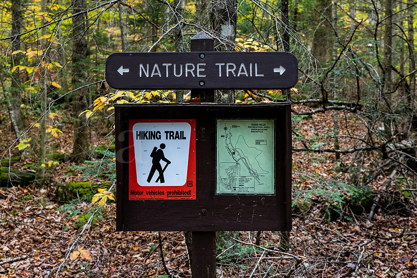 Hiking trail sign at Texas Falls, Hancock, Vermont, USA.