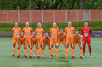team picture KAA Gent ( Silke Vanwynsberghe (21) , Ella Van Kerkhoven (3) , Lore Jacobs (17) , Feli Delacauw (44) , Lobke Loonen (19) , goalkeeper Nicky Evrard (1) and <br /> Jasmien Mathys (12) , Emma Van Britsom (6) , Lyndsey Van Belle (14) , Heleen Jaques (4) , Chloe Vande Velde (10) ) before a female soccer game between RSC Anderlecht Dames and AA Gent Ladies on the fifth matchday of play off 1 of the 2020 - 2021 season of Belgian Womens Super League , saturday 8 th of May 2021  in Brussels , Belgium . PHOTO SPORTPIX.BE | SPP | STIJN AUDOOREN