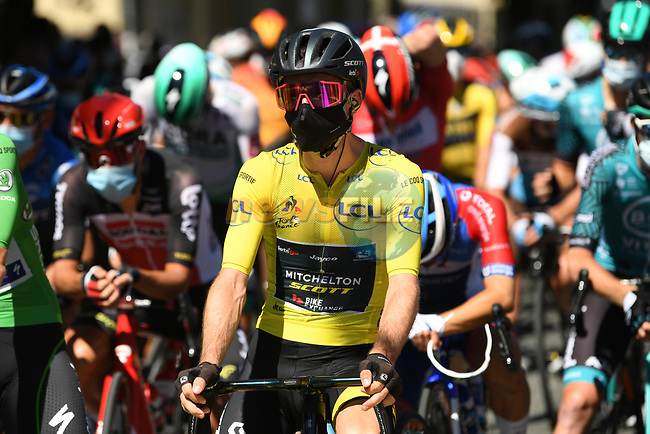 Yellow Jersey Adam Yates (GBR) Mitchelton-Scott lines up for the start of Stage 7 of Tour de France 2020, running 168km from Millau to Lavaur, France. 4th September 2020.<br /> Picture: ASO/Alex Broadway | Cyclefile<br /> All photos usage must carry mandatory copyright credit (© Cyclefile | ASO/Alex Broadway)