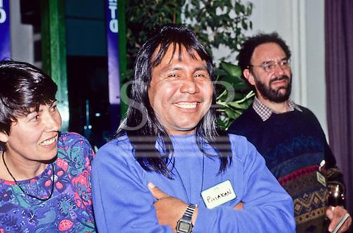 London, England. Paulinho Payakan (Bep Koroti Kayapo), international figurehead for the Kayapo, at a meeting.