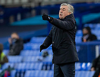 19th December 2020, Goodison Park, Liverpool, England;  Evertons manager Carlo Ancelotti instructs his players during the Premier League match between Everton FC and Arsenal FC which ended 2-1