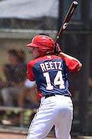 GCL Nationals catcher Jakson Reetz (14) on deck during a game against the GCL Marlins on June 28, 2014 at the Carl Barger Training Complex in Viera, Florida.  GCL Nationals defeated the GCL Marlins 5-0.  (Mike Janes/Four Seam Images)