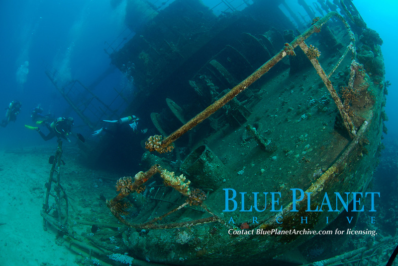 stern view, Ghiannis D. shipwreck being explored by scuba divers, ship was previously named the Markos D, sunk on April 19, 1983, hit the shallow reef at Sh'ab Abu Nuhas and sunk, Egypt, Red Sea